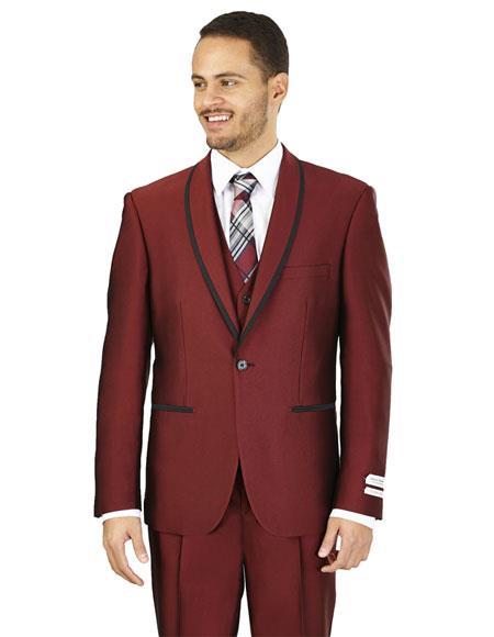 Men's Lorenzo Bruno Slim Fit Burgundy 1 Button Besom Pockets Suit