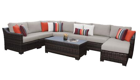 RIVER-09d-BEIGE Kathy Ireland Homes and Gardens River Brook 9-Piece Wicker Patio Set 09d - 1 Set of Truffle and 1 Set of Almond
