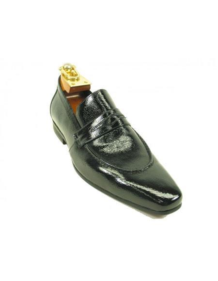 Mens Premium Calf Skin Slip-On Leather Dress Casual Shoe Patent Black