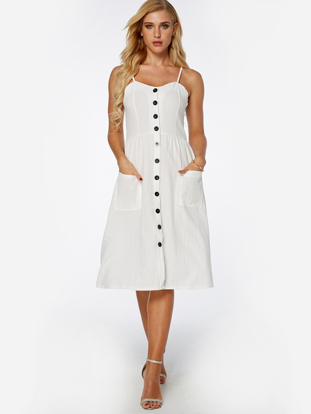Yoins White Single Breasted Design Sleeveless Dress with Side Pockets