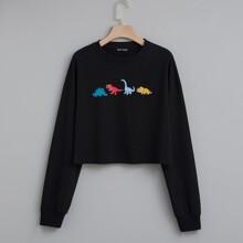 Sweatshirt mit Karikatur Grafik und sehr tief angesetzter Schulterpartie
