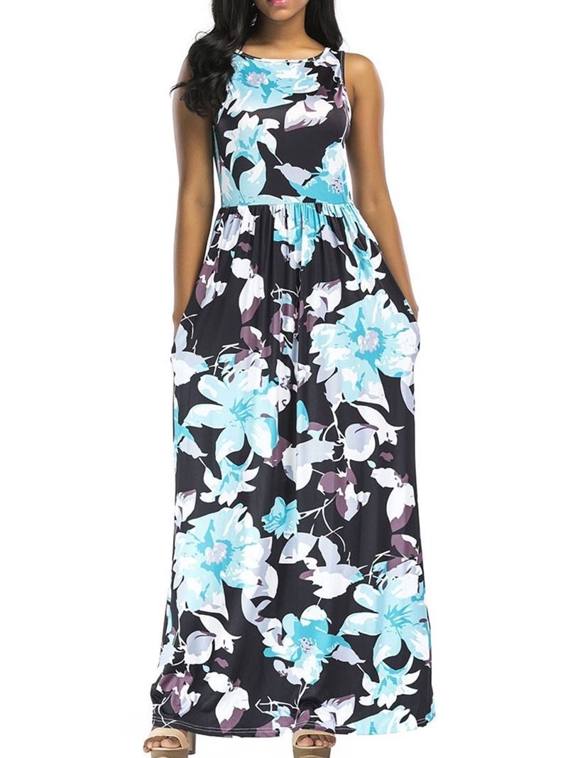 Ericdress Floral Print Pocket Sleeveless Ankle-Length Summer Mid Waist Dress