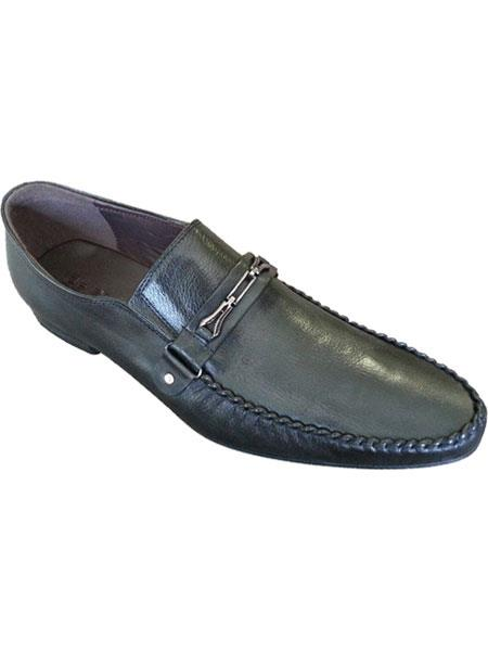 Mens Black Italian Style Fashionable Leather Loafers