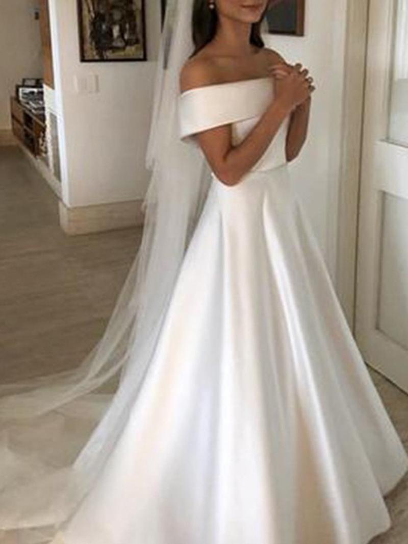 Ericdress Button Bowknot Off-The-Shoulder Hall Wedding Dress