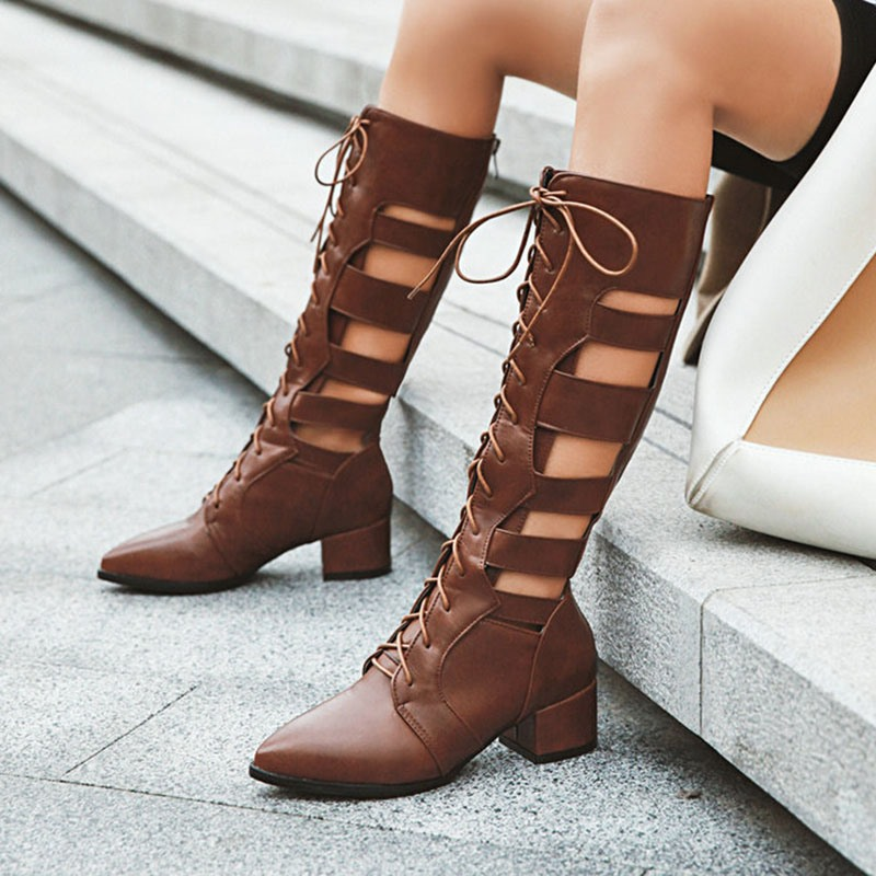 Ericdress Pointed Toe Back Zip Chunky Heel Korean Boots