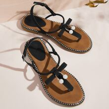 Rhinestone Cherry & Studded Decor Thong Sandals
