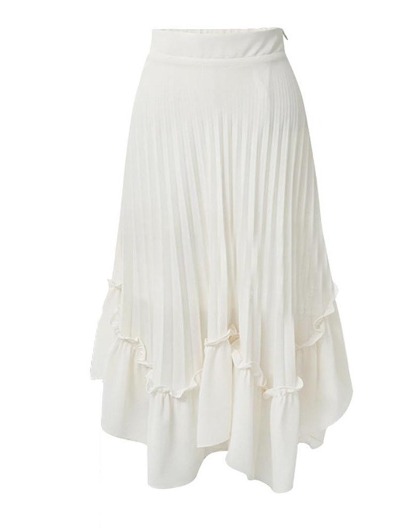 Ericdress Asymmetrical Plain Pleated Women's Skirt