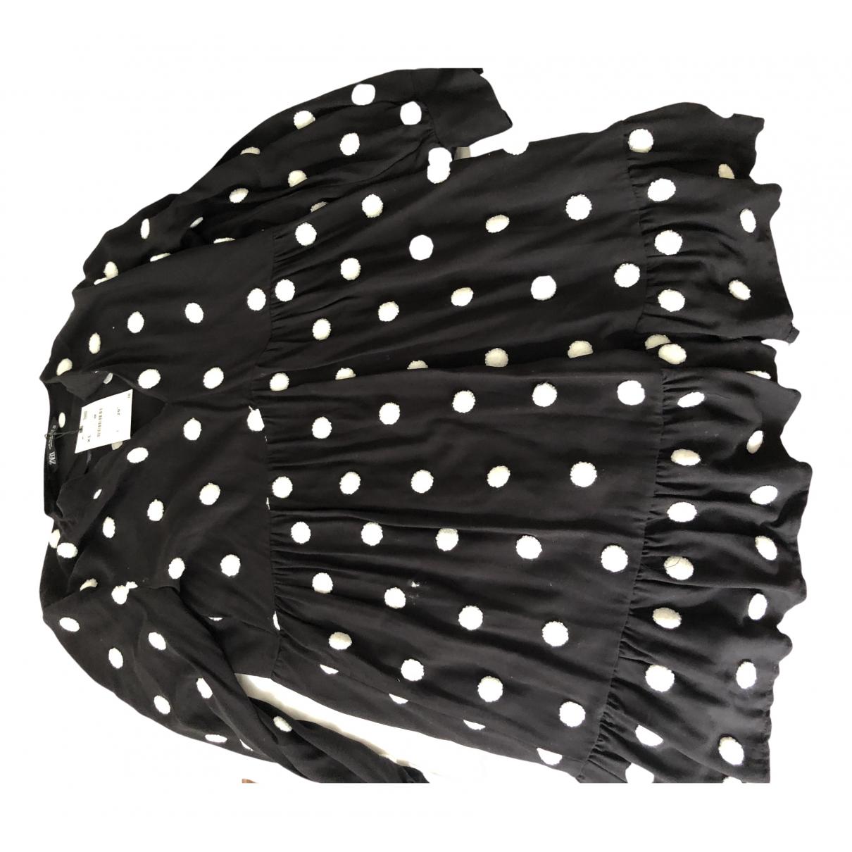 Zara \N Kleid in  Schwarz Baumwolle