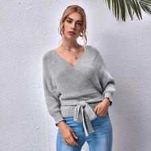 Pullover mit Dolmanaermeln, Ausschnitt hinten, Selbstband und Wickel Design
