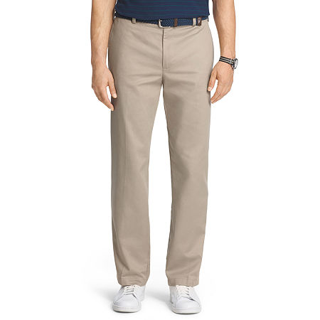 IZOD American Chino Mens Classic Fit Flat Front Pant, 30 30, Beige