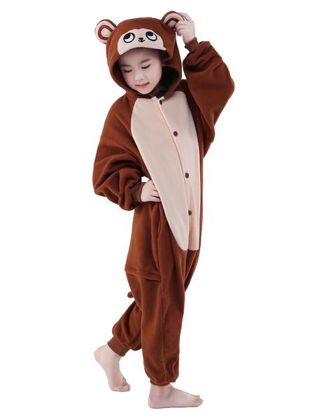 Milanoo Kigurumi Pajamas Onesie Coffee Monkey Childrens Flannel Winter Sleepwear Mascot Animal Costume Halloween