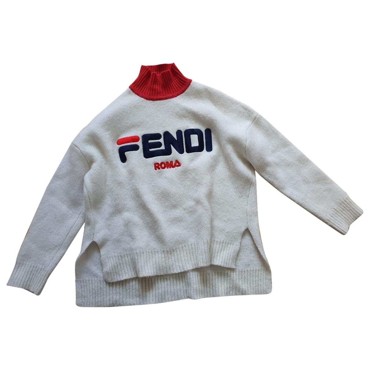 Fendi - Pull   pour femme en laine - blanc