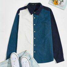 Guys Patch Pocket Colorblock Shirt