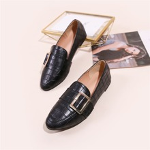 Buckle Decor Croc Embossed Flat Loafers