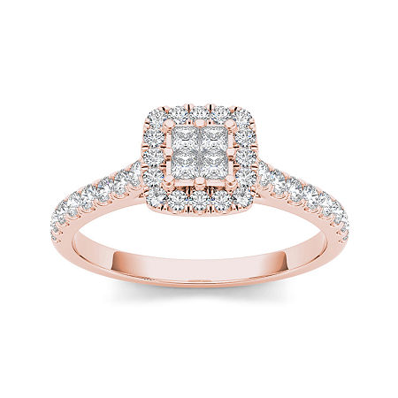 1/2 CT. T.W. Diamond 10K Rose Gold Engagement Ring, 9 , No Color Family