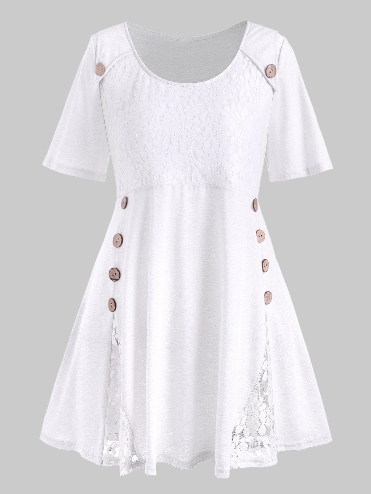 Plus Size Flower Lace Button Embellished T-shirt