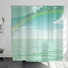 Sea Pattern Shower Curtain With 12pcs Hook