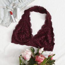 Scalloped Floral Lace Halter Bralette