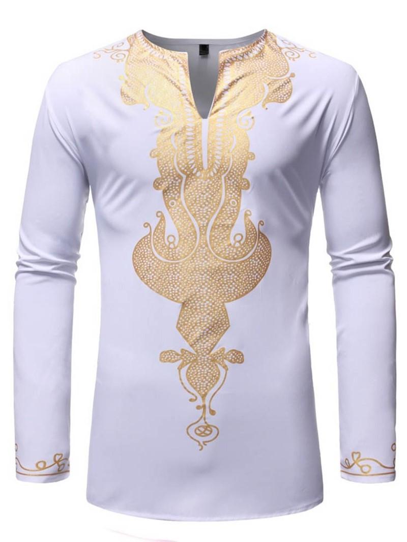 Ericdress African Fashion Dashiki V-Neck Slim Mens Shirt