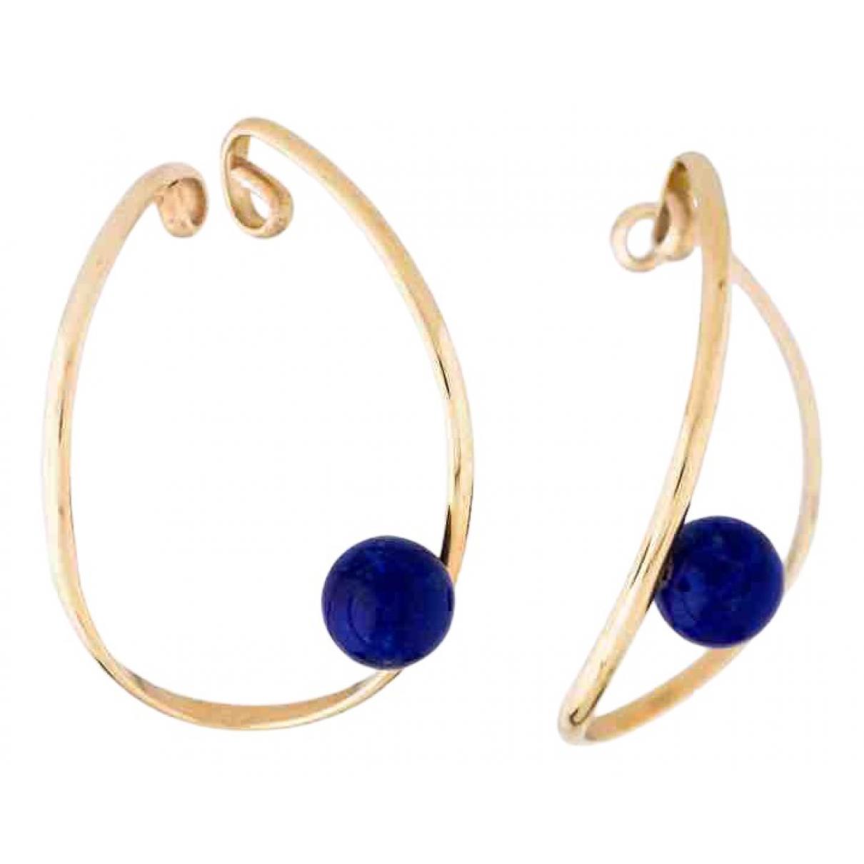 - Boucles doreilles Lapis lazuli pour femme en or jaune - dore