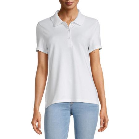 Arizona Juniors Womens Short Sleeve Knit Polo Shirt, Small , White