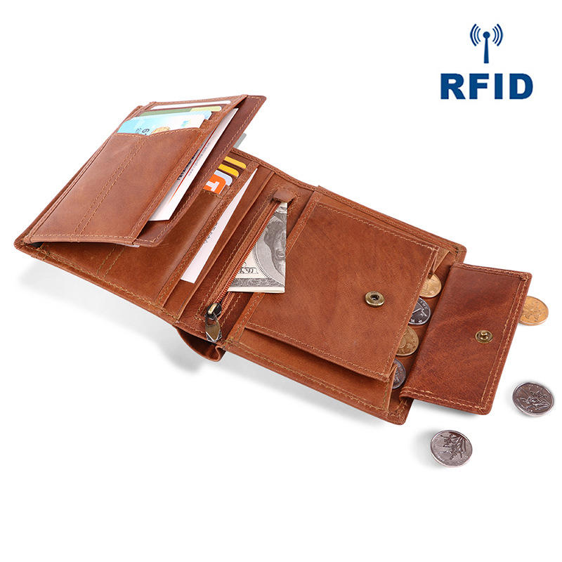 Men RFID Genuine Leather Tri-fold Multi-Position Short Walle