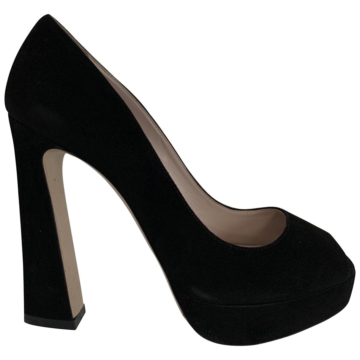 Miu Miu \N Black Suede Heels for Women 37 EU
