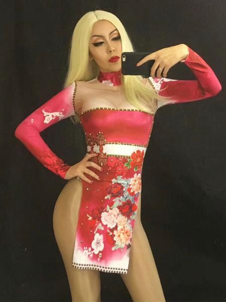 Milanoo Jazz Dance Costume Women Print Long Sleeve Split Cutout Sexy Dresses