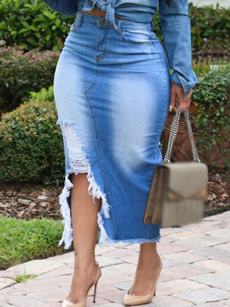 Ericdress Gradient Asymmetric Mid-Calf Sexy Skirt