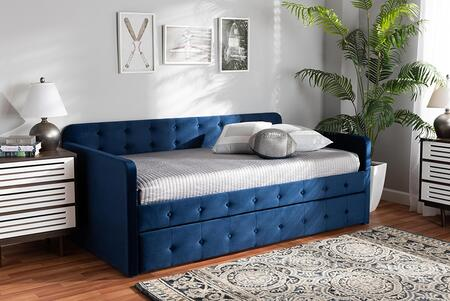 CF9183-NAVY BLUE-DAYBED-T/T Jona Modern and Contemporary Transitional Navy Blue Velvet Fabric Upholstered and Button Tufted Twin Size Daybed with