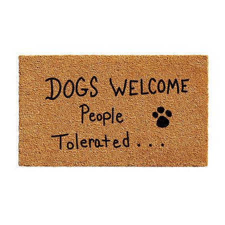 People Tolerated Rectangular Outdoor Doormat, One Size , White