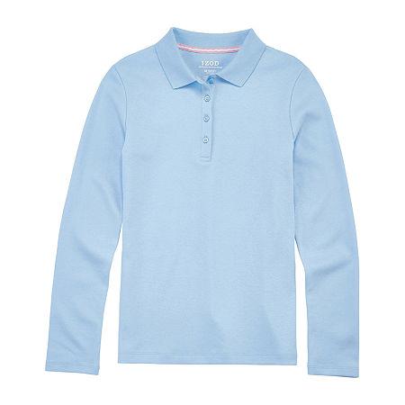 IZOD Little & Big Girls Long Sleeve Polo Shirt, Large , Blue