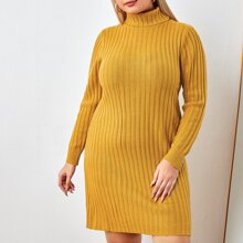 Plus Turtle Neck Ribbed Knit Sweater Dress