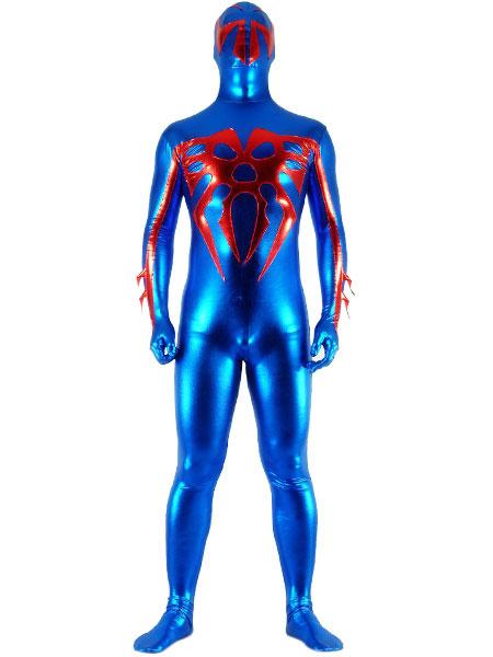 Milanoo Morph Suit Blue Super Hero Patterned Shiny Metallic Fabric Zentai Suit Unisex Full body Suit