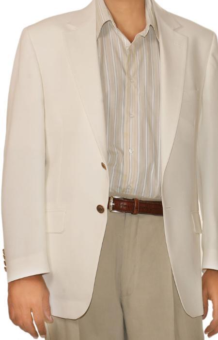White Spring/Summer Men's Two Button Blazer
