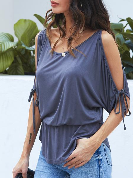 Yoins Grey Lace-up Design Cold Shoulder Drawstring Waist Summer Top
