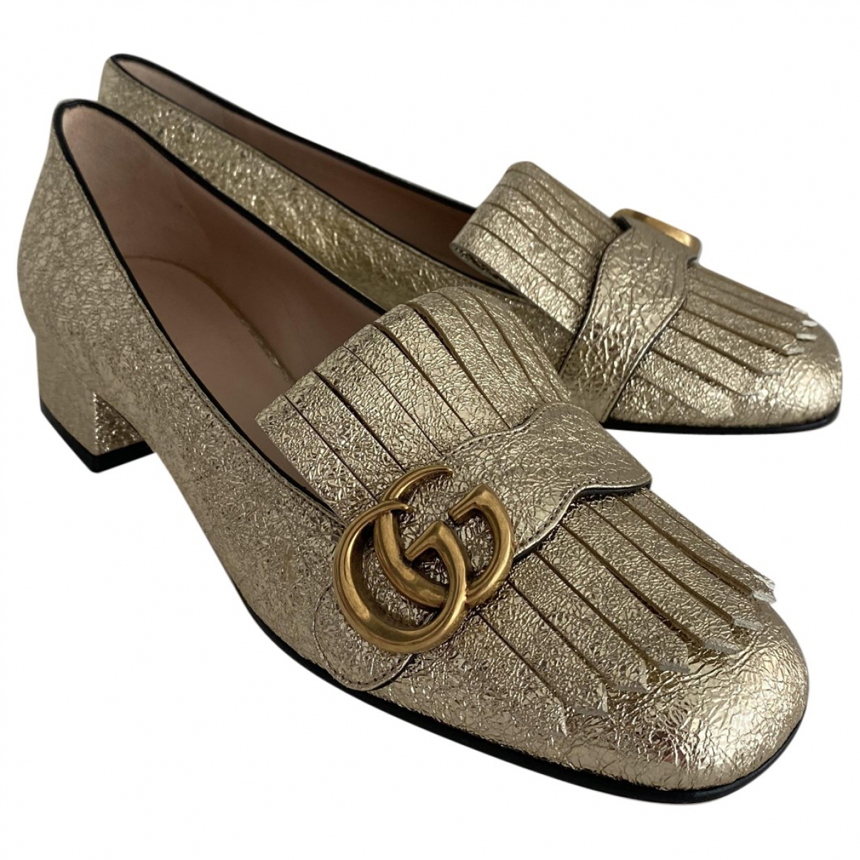 Gucci Marmont Mokassins in  Gold Leder