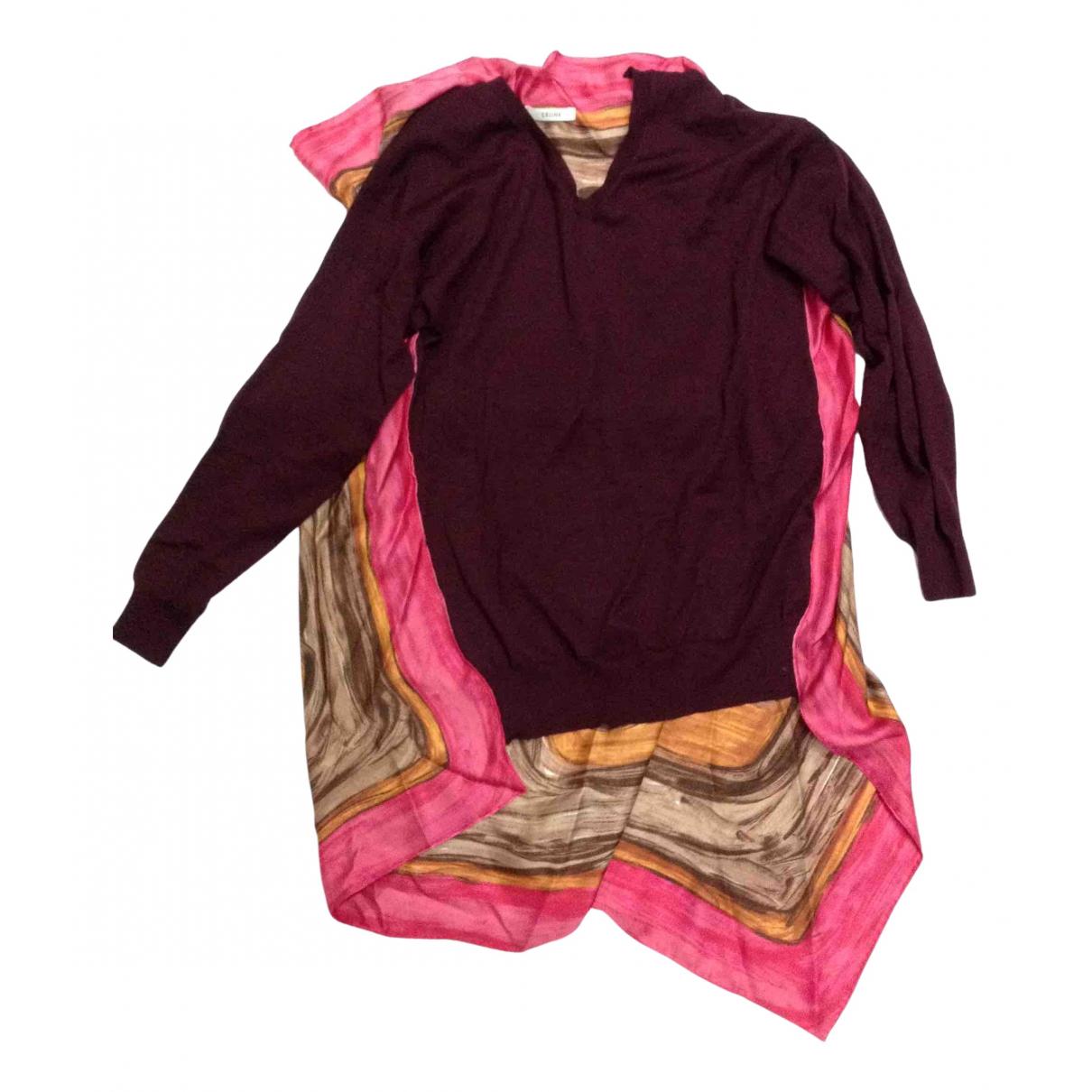 Celine - Pull   pour femme en laine - bordeaux
