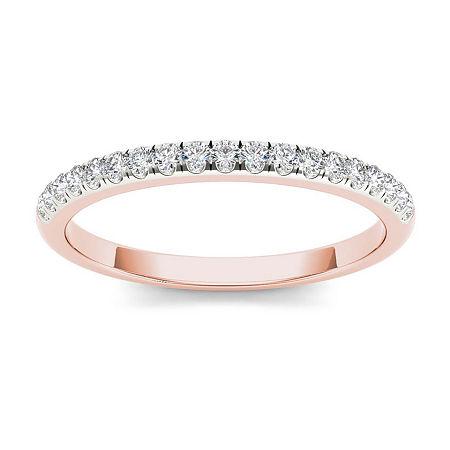2MM 1/5 CT. T.W. Genuine White Diamond 10K Gold Wedding Band, 7 1/2 , Multiple Colors