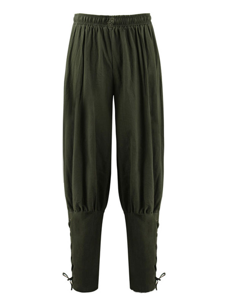 Milanoo Men Vintage Pant Lace Up Aristocrat Style Wide Leg Cotton Retro Costumes For Man Halloween