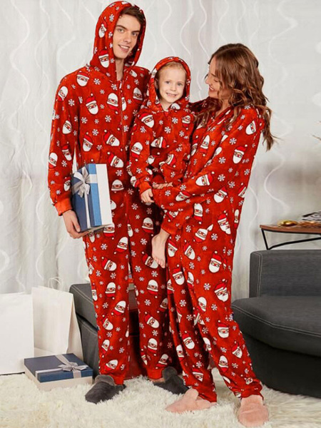 Milanoo Christmas Matching Family Pajamar Red Family Christmas Jumpsuit