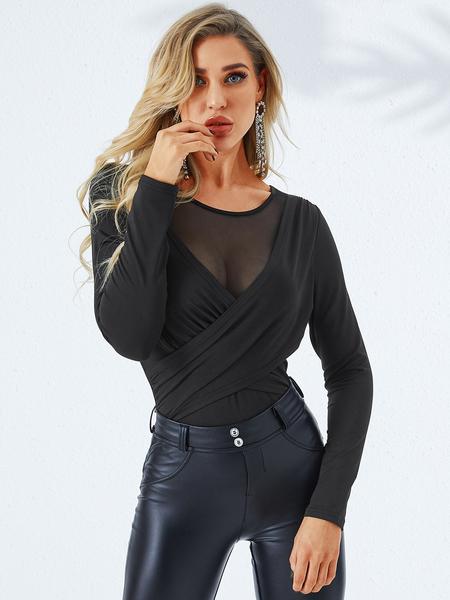 YOINS Black Crossed Front Design Round Neck Long Sleeves Tee