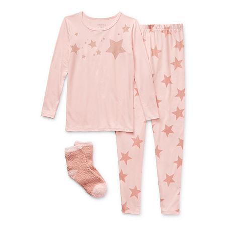 Arizona Little & Big Girls 2-pc. Pant Pajama Set, 12 , Pink