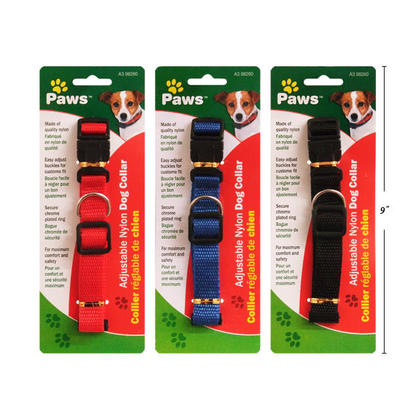 Durable Adjustable Nylon Collar, 1 Randomized Color Per Pack - PAWS.