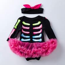 Body panel con malla de halloween con diadema