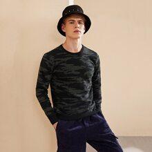 Men Camo Pattern Sweater