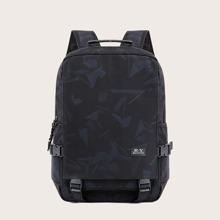 Men Letter Patch Backpack