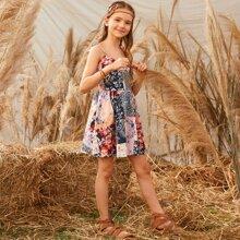 Kleid mit Knoten, Riemen, Raffung hinten und Flicken Muster
