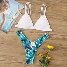 Tropical Print Triangle Strappy Bikini Swimsuit