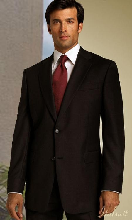 Brown Shark Skin 2Btn Suit Classic Relax Fit Pants 19Inch Bottom